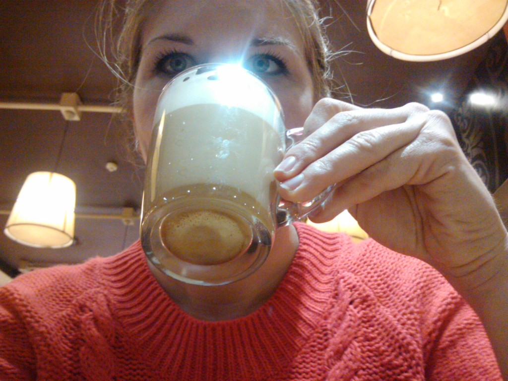 Yes, this is standard for me - coffee cup in face.